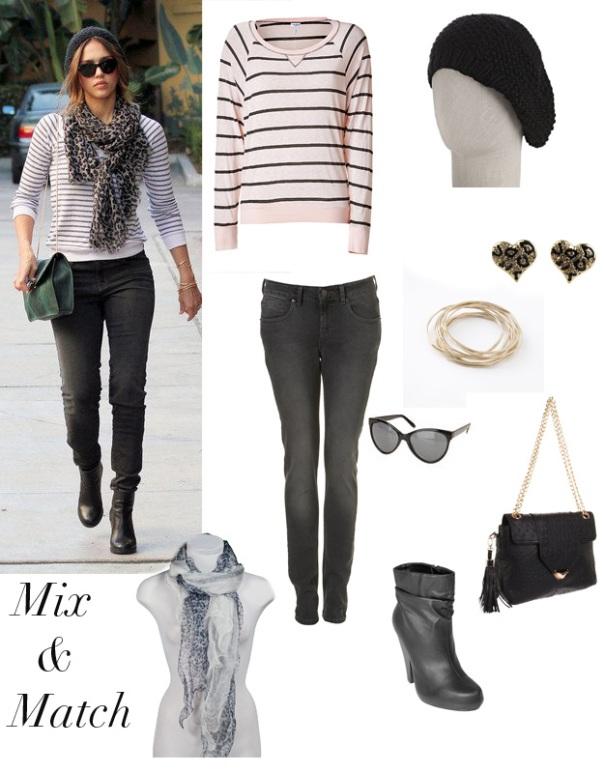 jessica alba leopard scarf jeans