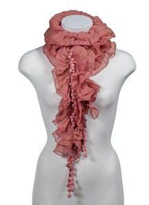pom pom ruffle scarf pink