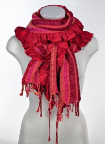 red and pink stripes scarf